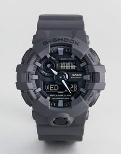 Серые цифровые часы с силиконовым ремешком G-Shock GA-700UC-8A - Серый
