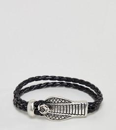 Кожаный браслет с застежкой в виде змеи Sacred Hawk - Черный
