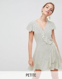 Платье с запахом и принтом в горошек Missguided Petite - Желтый