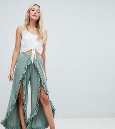 Широкие брюки с оборками ASOS DESIGN Tall - Зеленый