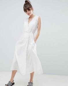 Платье макси с оборкой и запахом Leon and Harper - Белый