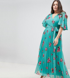 Плиссированное платье макси с расклешенными рукавами и цветочным принтом ASOS DESIGN Curve - Мульти