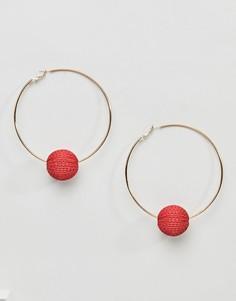 Серьги-кольца с шариком Missguided Wicca - Красный
