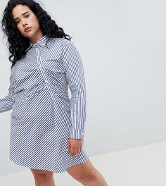 Платье-рубашка в полоску ASOS WHITE Curve - Мульти