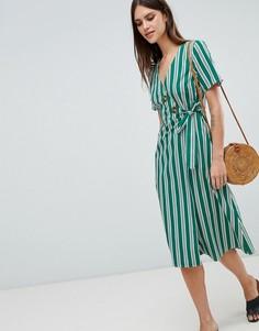 Зеленое хлопковое платье миди в полоску с пуговицами ASOS DESIGN - Мульти