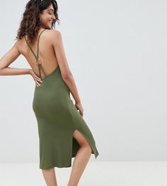 Платье миди в рубчик с кольцом ASOS DESIGN Tall - Зеленый