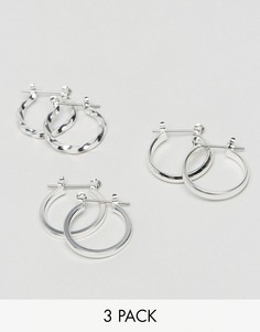 3 пары сережек-колец 20 мм ASOS - Серебряный