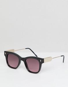 Солнцезащитные очки в черной квадратной оправе с красными стеклами Spitfire - Черный