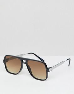 Солнцезащитные очки в черной квадратной оправе с коричневыми стеклами Spitfire - Черный