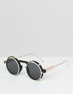 Черно-желтые круглые солнцезащитные очки Spitfire - Черный