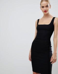 Черное платье-футляр с квадратным вырезом Vesper - Черный