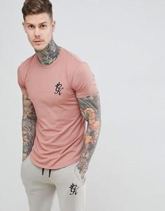 Персиковая меланжевая удлиненная футболка Gym King - Розовый