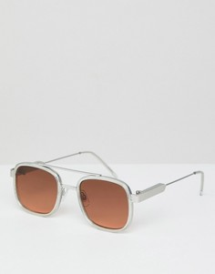 Квадратные солнцезащитные очки с коричневыми стеклами в прозрачной оправе Spitfire - Очистить