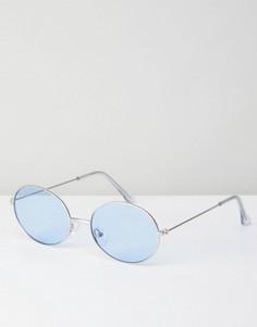 Металлические солнцезащитные очки в стиле 90-х с синими овальными стеклами ASOS - Серебряный