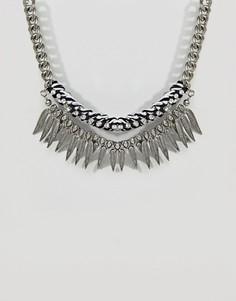 Ожерелье-цепочка с отделкой в виде листьев Missguided - Серебряный