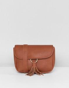 Светло-коричневая сумка-кошелек на пояс с кисточкой Yoki Fashion - Рыжий