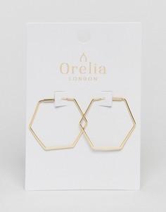 Золотистые серьги-кольца шестиугольной формы Orelia - Золотой