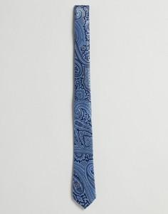 Темно-синий галстук с принтом пейсли ASOS DESIGN - Темно-синий