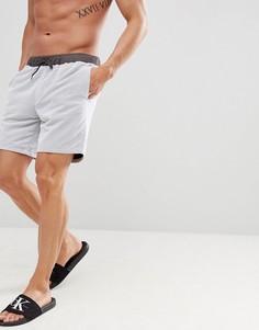 Белые шорты для плавания средней длины с серой сеткой ASOS DESIGN - Серый