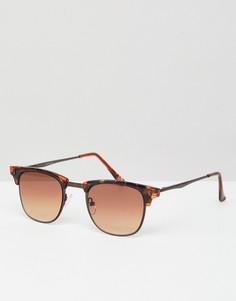 Солнцезащитные очки в черепаховой оправе с коричневыми стеклами ASOS DESIGN - Коричневый