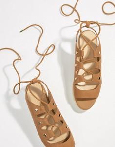 Замшевые сандалии-эспадрильи на плоской платформе с завязками ALDO - Рыжий