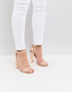 Босоножки на каблуке цвета розового золота Public Desire - Золотой