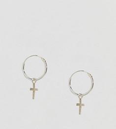 Серебряные серьги-кольца с подвеской-крестиком Kingsley Ryan - Серебряный