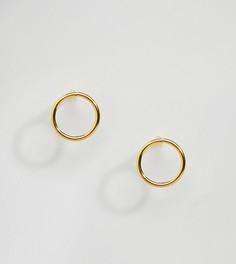 Позолоченные круглые серьги-гвоздики Kingsley Ryan - Золотой