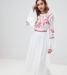 Плиссированное платье макси с отделкой Frock And Frill - Белый