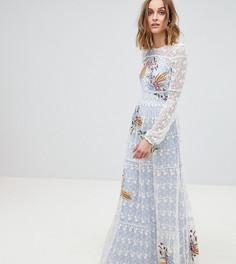 Платье макси с вышивкой Frock And Frill - Синий