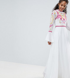 Платье макси с отделкой на лифе и плиссировкой Frock And Frill Tall - Белый