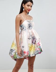 Атласное платье с цветочным принтом и пышной юбкой ASOS DESIGN - Мульти