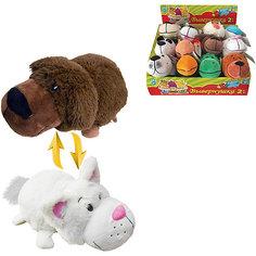Мягкая игрушка-вывернушка 1toy Шоколадный лабрадор - Белый кот, 20 см