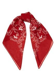 Красный платок из шелка с цветами Ulyana Sergeenko