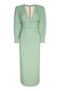 Зеленое платье из шелка Ulyana Sergeenko