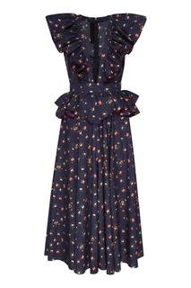 Хлопковое платье с оборками Ulyana Sergeenko