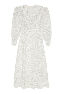 Белое платье из шелка с принтом Ulyana Sergeenko