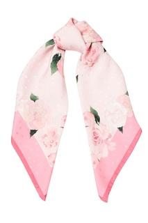Розовый шелковый платок с пионами Ulyana Sergeenko