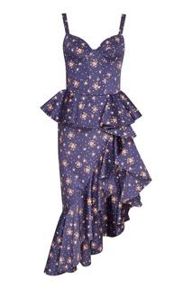 Хлопковое платье с асимметричным подолом Ulyana Sergeenko