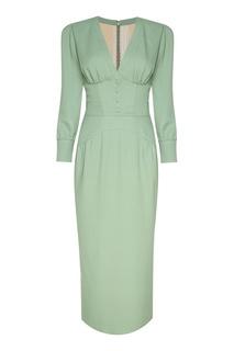 Зеленое шелковое платье Ulyana Sergeenko