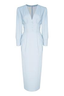 Голубое платье из шелка Ulyana Sergeenko