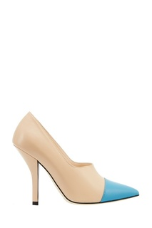 Бежевые туфли с голубым носком Fendi