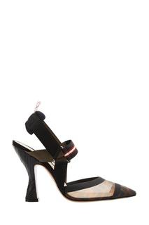 Комбинированные туфли на шпильке Fendi