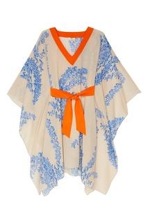 Платье из шелка с принтом Fendi