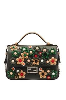 Кожаная сумка с аппликацией Fendi