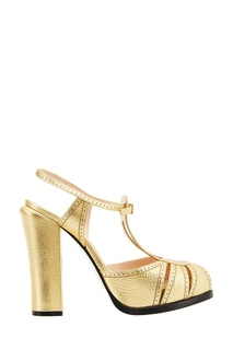 Золотистые туфли на массивном каблуке Fendi
