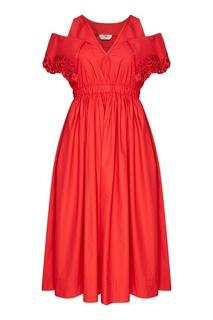 Красное платье с перфорацией Fendi