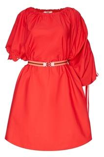Красное платье с поясом Fendi
