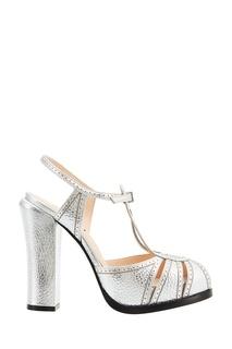Серебристые босоножки на массивном каблуке Fendi