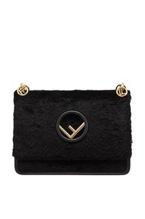 Черная сумка из бархата Fendi